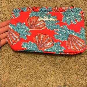 Lily Pulitzer teal and coral makeup bag
